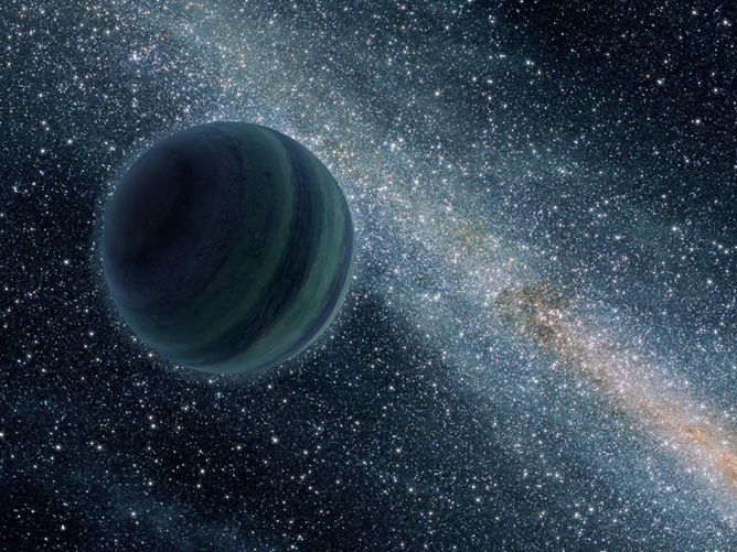 a blue planet floats across the galaxy alone