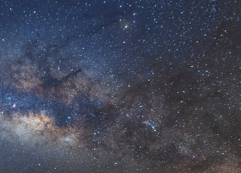 Milky Way image showing lens abberations