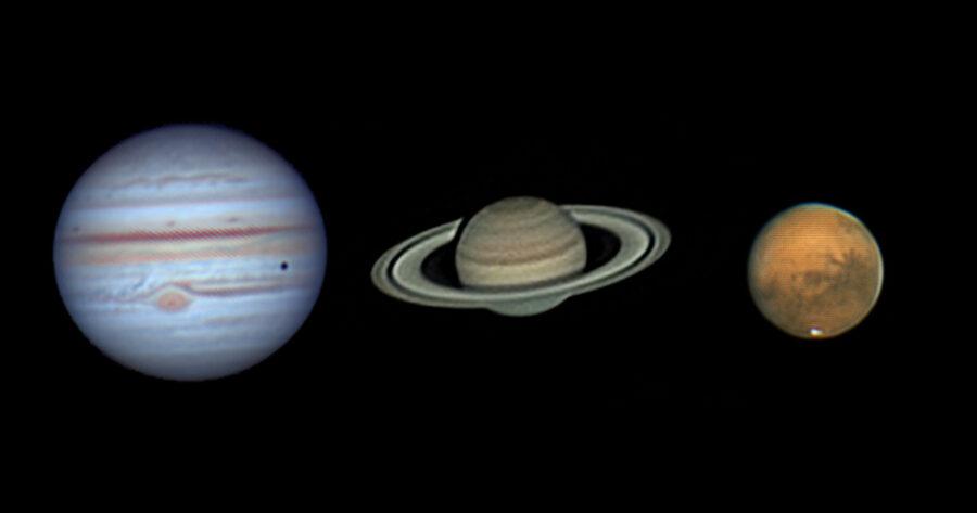 Jupiter, Saturn, and Mars