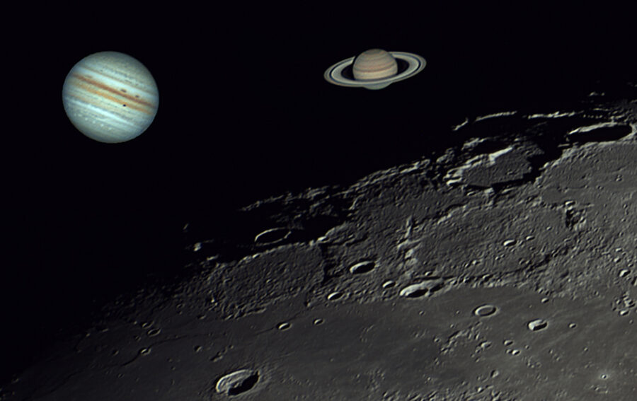 Jupiter and Saturn compared to the Moon