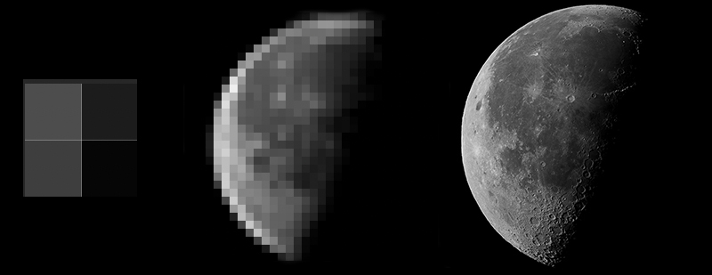 The Moon at various resolutions