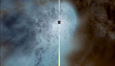 Black hole flees massive galaxy