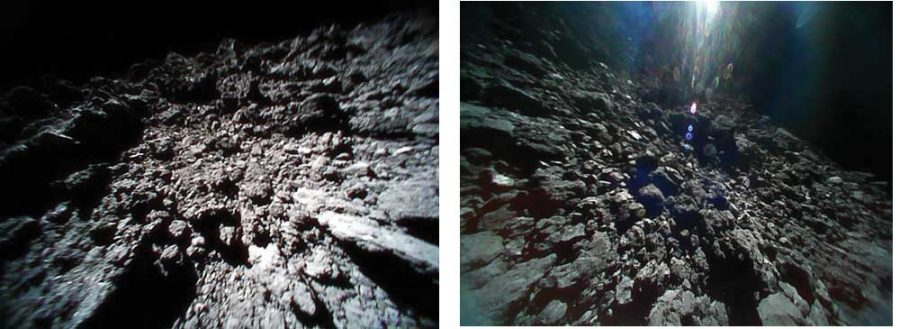 two side by side images of the bumpty surface of an asteroid resembling rocks, greyscale