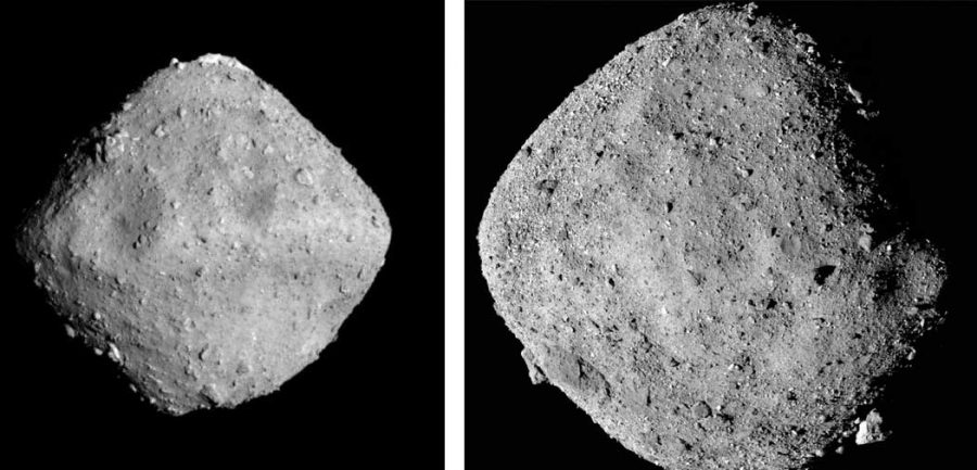 two asteroids shown side by side, grey, on a black background