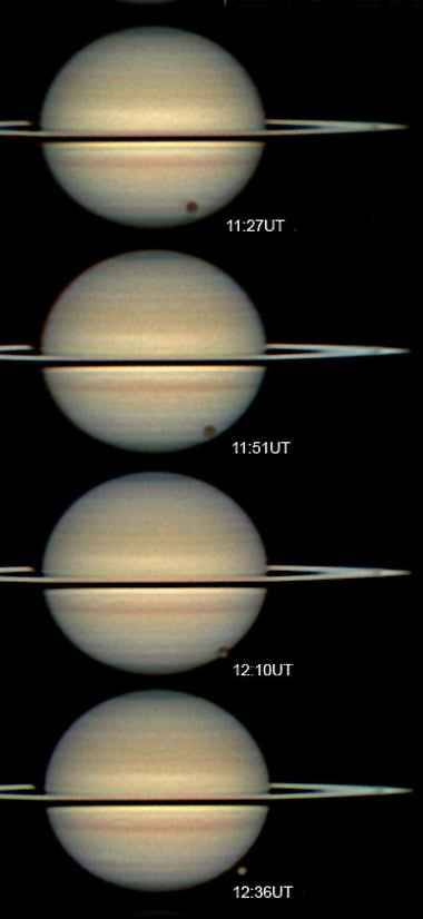 Titan and its shadow transiting Saturn