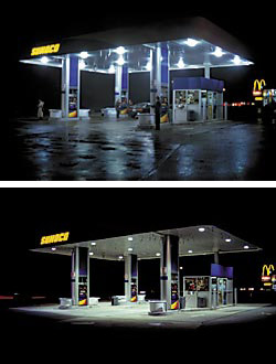 Lighting under a service-station canopy