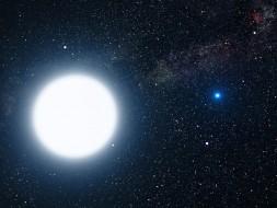Brightest star, Sirius A, with its companion, Sirius B