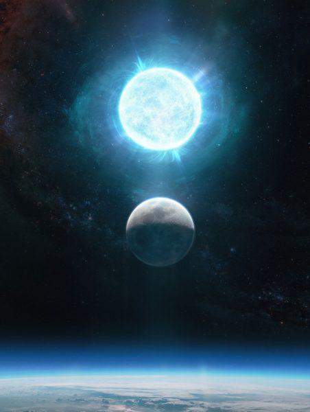 Smallest white dwarf comparison to Moon