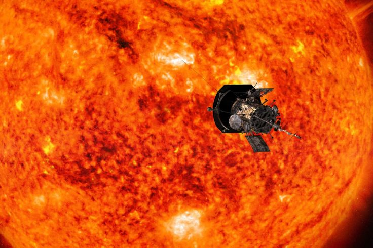 artist's conception of the parker solar probe floating in front of the sun