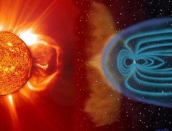 The solar wind pushing on Earth's magnetic field.NASA
