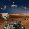 Artist's rendering of NASA's five robotic Mars explorers NASA