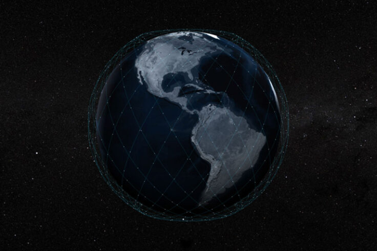 Starlink constellation around Earth