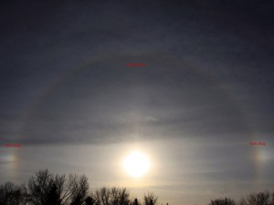 Example of sundogs, or mock sun by Bob Johnson.