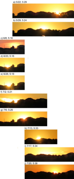 Individual photos of the sunrise near the summer solstice.
