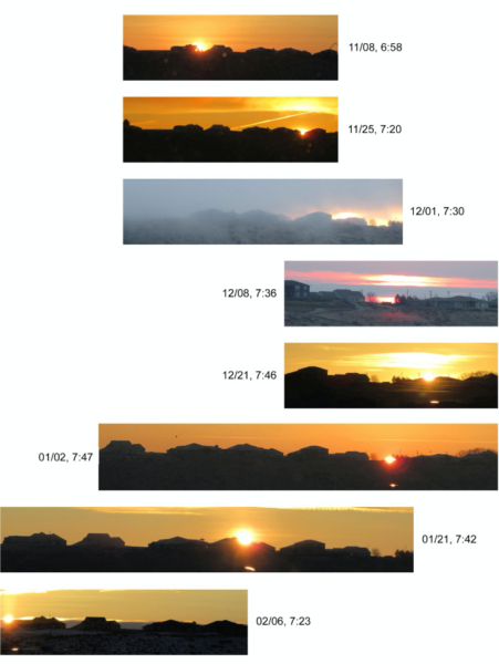 Individual photos of the sunrise around the winter solstice.