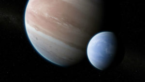 Illustration of Kepler-1625b and moon
