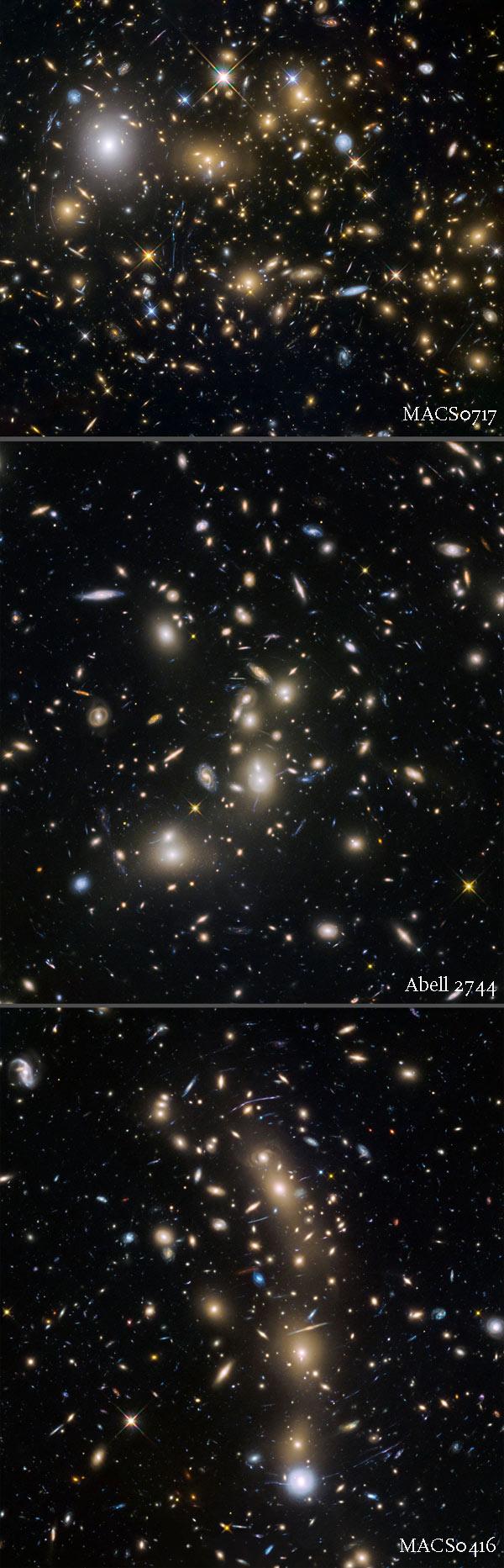 three galaxy clusters
