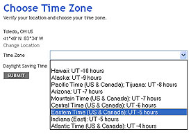 Choose Time Zone
