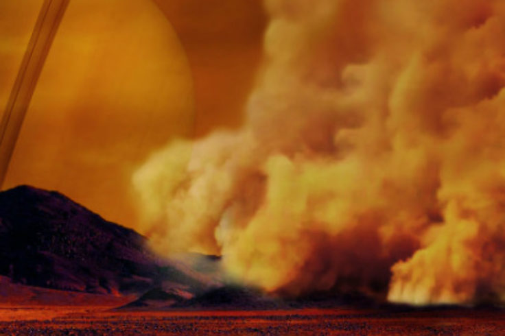 Illustration of dust storms on Titan