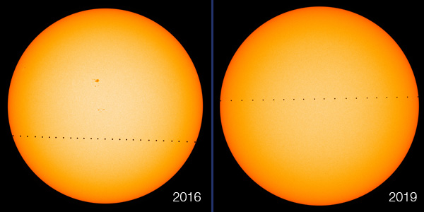 Transit of Mercury: 2016 vs. 2019