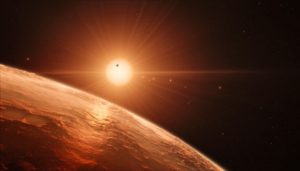 illustration of TRAPPIST-1 planet sky