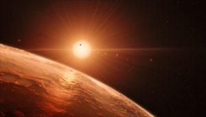 illustration of TRAPPIST-1 planet sky