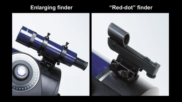 """When using a traditional finderscope (left), your eye must be very close to its back end, and seeing the crosshairs can be difficult in the dark. A """"1-power"""" finder (right) creates the illusion of a reference point or pattern on the sky using the light from a red LED. It lets you view your target and the superimposed red dot or circle much more comfortably.Sky & Telescope"""