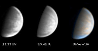 Venus in ultraviolet and infrared, May 20, 2007