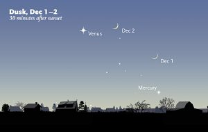 Venus is easy to spot throughout December. Mercury starts off challenging but becomes easier to spot by midmonth.
