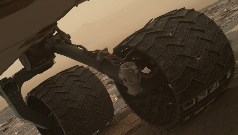 The wheels of the Mars curiosity rover