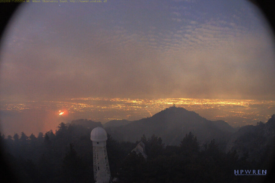 Mount Wilson wildfire smoke