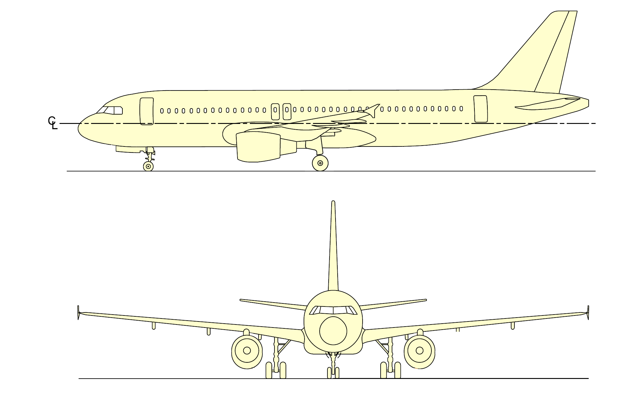 A320 profiles from side and front