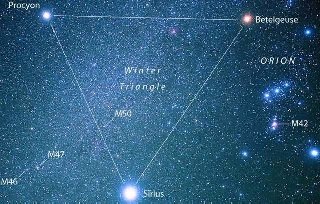 For Northern Hemisphere observers, the Winter Triangle serves to ...