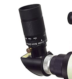 A modern, high-quality zoom eyepiece, like this 8-mm to 24-mm model from Orion Telescopes & Binoculars, can help you pan in and out to find the optimal magnification for viewing a particular star cluster, galaxy, or nebula.